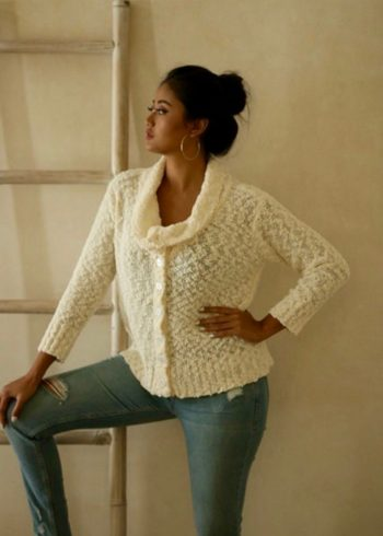 415 Popcorn Button Up Cardigan, Ivory